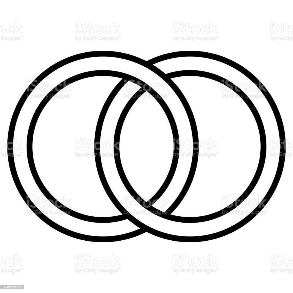 Ineinander Greifende Kreise Symbol Zeichen Umriss Ringe Kreise Ringe