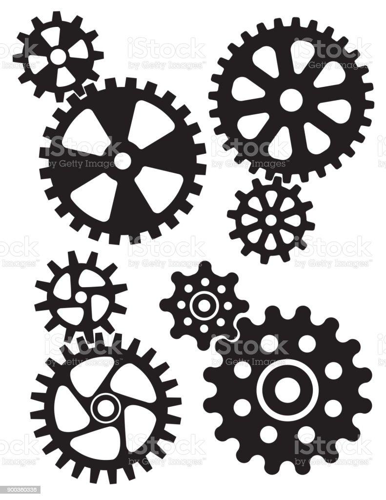 Interlocking gears and cogs design. vector art illustration