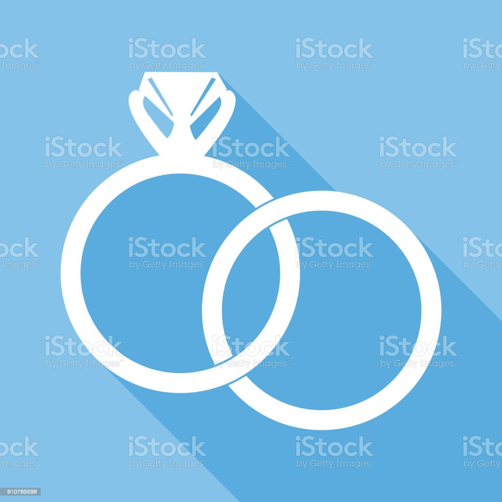 Interlocking Wedding Rings Icon vector art illustration