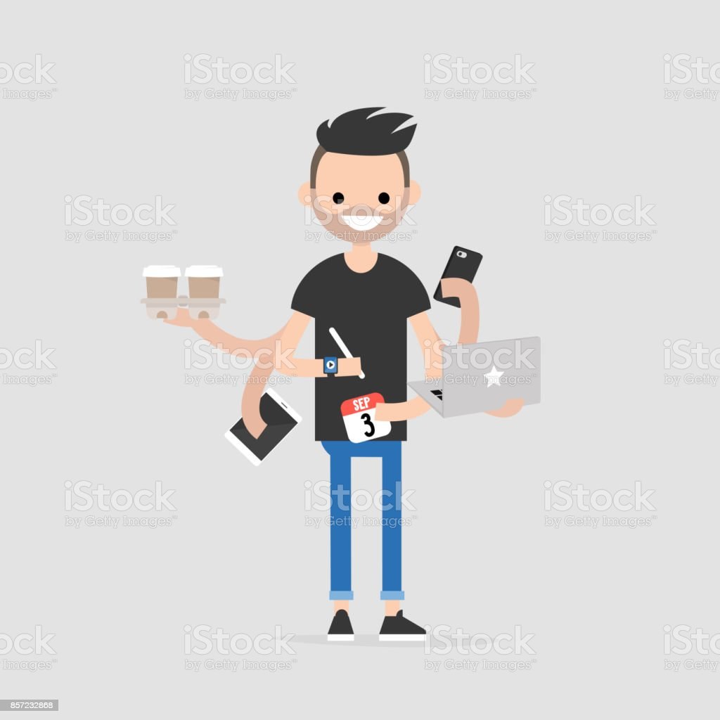 Intern, conceptual illustration. Multitasking millennial concept. Young character with six hands doing a lot of tasks at the same time  / flat editable vector illustration vector art illustration