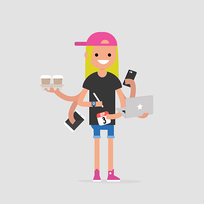 Intern, conceptual illustration. Multitasking millennial concept. Young female character with six hands doing a lot of tasks at the same time  / flat editable vector illustration