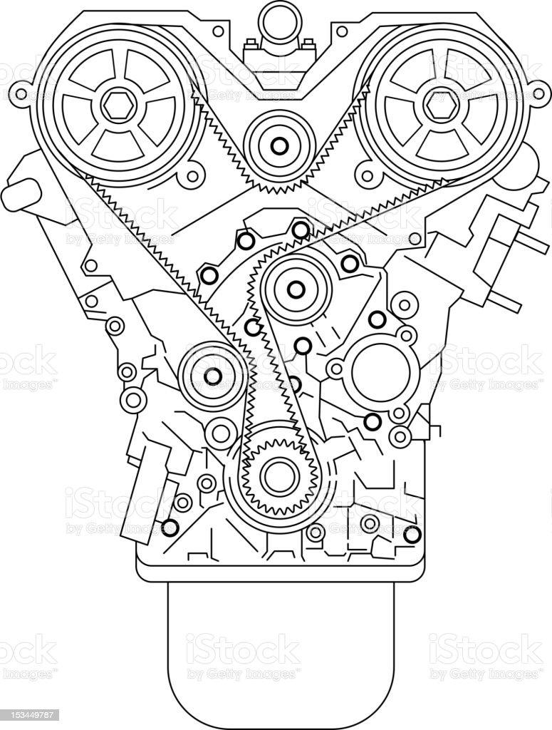 Internal combustion engine vector art illustration
