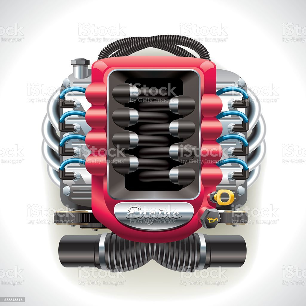 Internal combustion engine vector art illustration