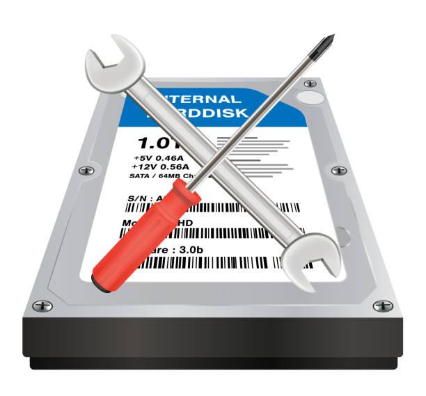ilustrações de stock, clip art, desenhos animados e ícones de internal harddisk with a wrench and screwdriver repair logo - douro