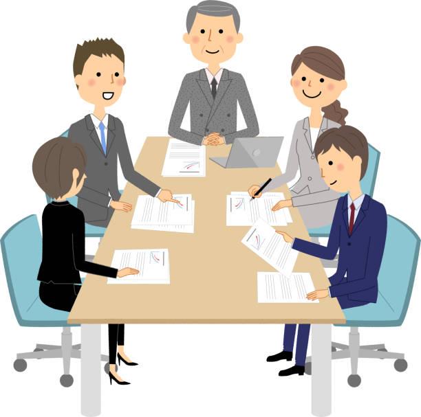 社内会議 - ビジネスマン 日本人点のイラスト素材/クリップアート素材/マンガ素材/アイコン素材