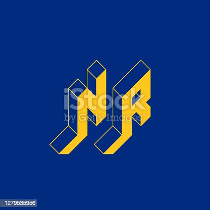 istock NR - international 2-letter code or National domain of Nauru. N and R - Monogram or logotype. Isometric 3d font for design. Three-dimension letters. 1279535956