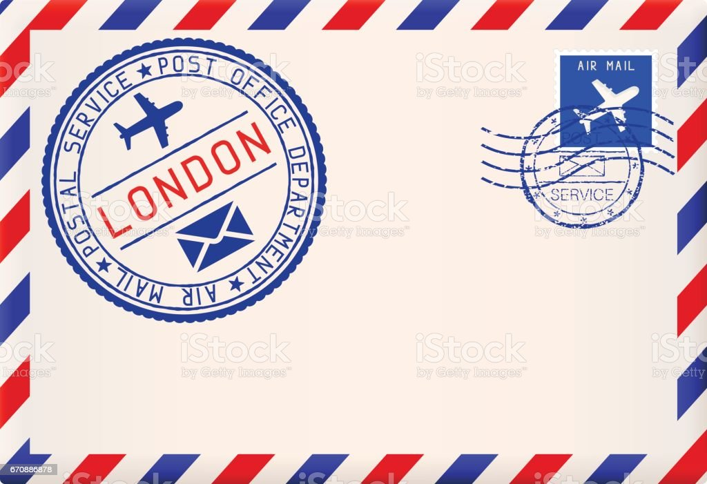 International air mail envelope from LONDON. With round blue postal stamp vector art illustration