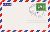 International air mail envelope with sport stamp