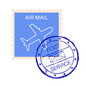 International air mail stamp with post service round impress