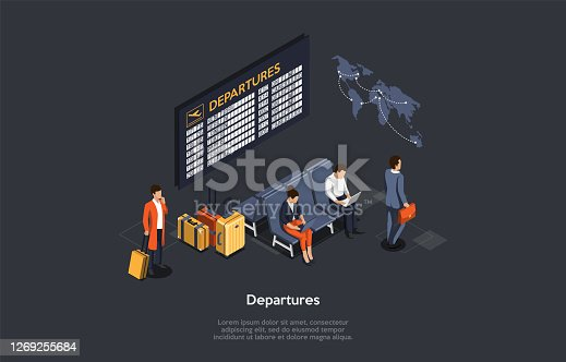 International Air Travel Concept. The Passengers Sit In The Waiting Room Using Their Laptops Connected To Internet. Man With Suitcase Waits Near The Departures Board. 3d Isometric Vector Illustration.