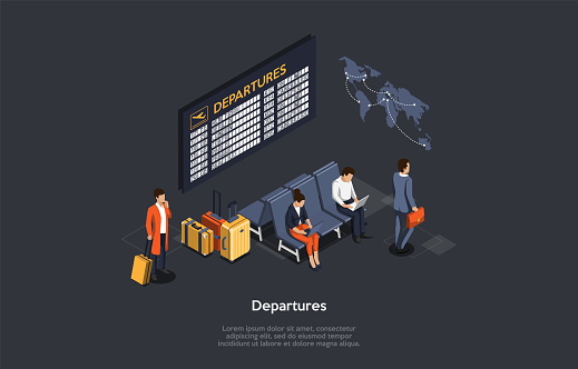 International Air Travel Concept. The Passengers Sit In The Waiting Room Using Their Laptops Connected To Internet. Man With Suitcase Waits Near The Departures Board. 3d Isometric Vector Illustration