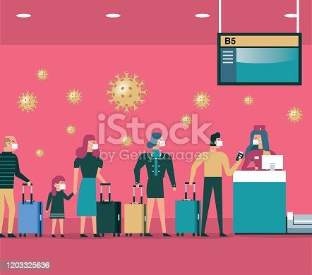 istock International airport check in desk counter 1203325636
