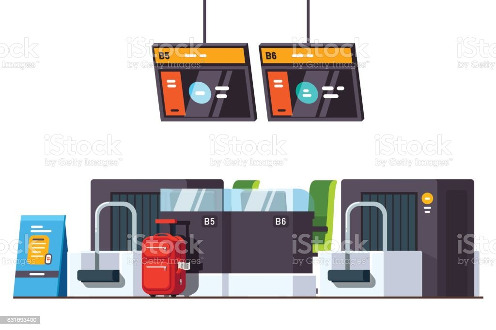 International airport check in desk counter vector art illustration