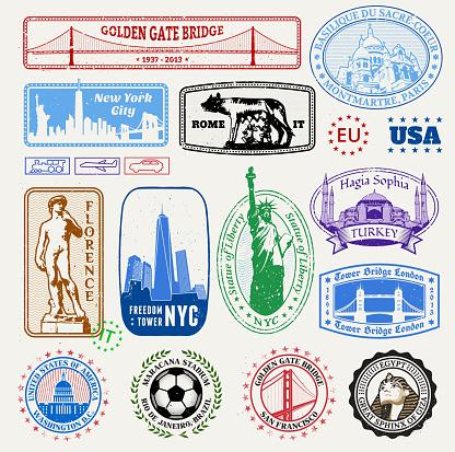 International & American Famous Travel Destinations Set