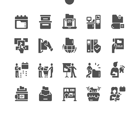 International Archives Day 9 June. Information carriers. Calendar. Ninth of june. Saving archives. Thematic exhibitions. Festive cake. Vector Solid Icons. Simple Pictogram