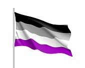 International asexual waving flag, people movement, realistic icon. Canvas for all who abandoned sex life, not experiencing attraction and so on. Vector illustration of a colorful element