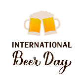 International Beer day calligraphy hand lettering. Holiday celebrate on the first Friday of August. Vector template for banner, typography poster, flyer, sticker, postcard, t-shirt, etc.