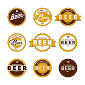 International Beer Day Labels Icon Set