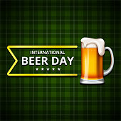 International Beer Day, on August. Cheers with clinking beer mugs conceptual. vector illustration.