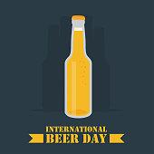 International Beer Day poster, beer bottles illustration vector