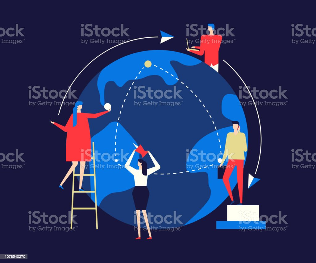 Internationales Geschäft - flaches Design Stil bunte illustration – Vektorgrafik