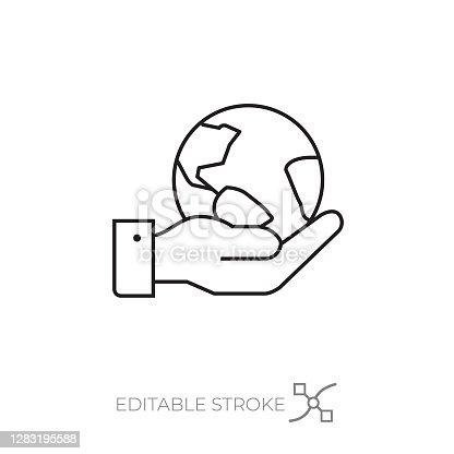 International business icon editable stroke. Business man hand holding the world symbol