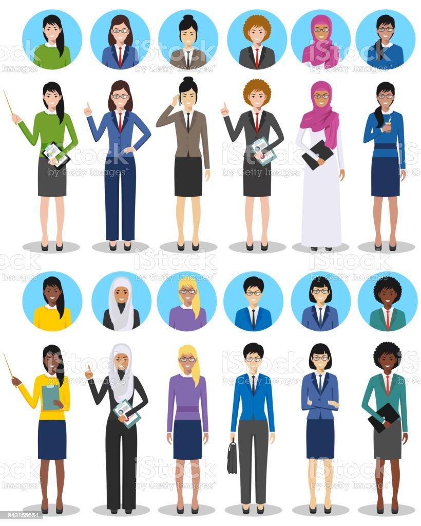 International business team and teamwork concept. Set of illustration of businesswomen standing in different positions. Diverse nationalities and dress styles. Different characters avatars icons set. vector art illustration