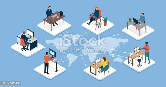 istock International business team connecting online together and teleworking 1217542903