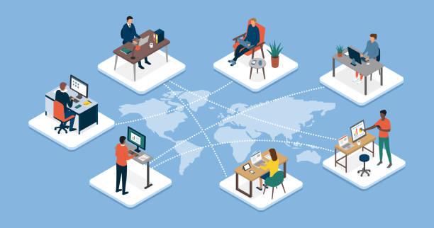 międzynarodowy zespół biznesowy łączący się online i telepracę - globalny stock illustrations