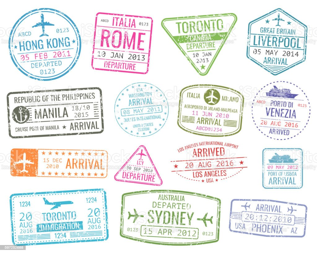 International business travel visa stamps vector arrivals sign set vector art illustration