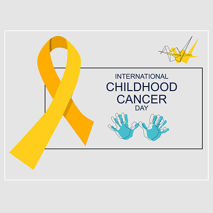 International Childhood cancer day. Origami crane bird and kids handprints are hope symbols. Help and support concept. Oncology disease and treatment. Yellow awareness ribbon.