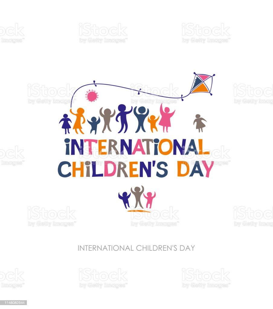 Internationale dag van het kind. Heldere veelkleurige platte ontwerp van sociale logo. - Royalty-free Baby vectorkunst