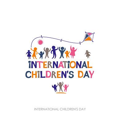 Internationale Dag Van Het Kind Heldere Veelkleurige Platte Ontwerp Van Sociale Logo Stockvectorkunst en meer beelden van Baby