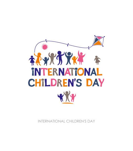 stockillustraties, clipart, cartoons en iconen met internationale dag van het kind. heldere veelkleurige platte ontwerp van sociale logo. - festival logo baby