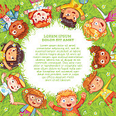 Children lie on the meadow. Camera Angle downward. International Children's Day or Earth Day. International friendship day. Multicultural kids in the circle. Template for advertising brochure