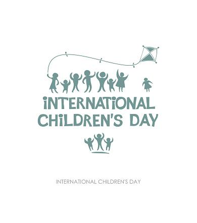 Internationale Dag Van Het Kind Silhouet Platte Ontwerp Van Sociale Logo Stockvectorkunst en meer beelden van Baby