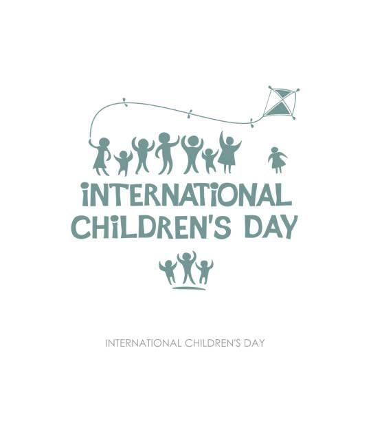 stockillustraties, clipart, cartoons en iconen met internationale dag van het kind. silhouet platte ontwerp van sociale logo. - festival logo baby