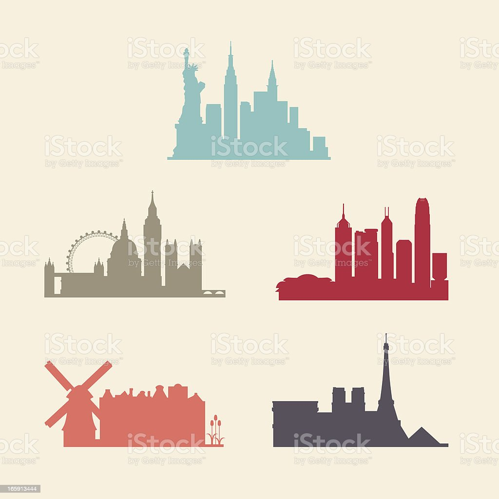 Internationale Stadt skylines – Vektorgrafik
