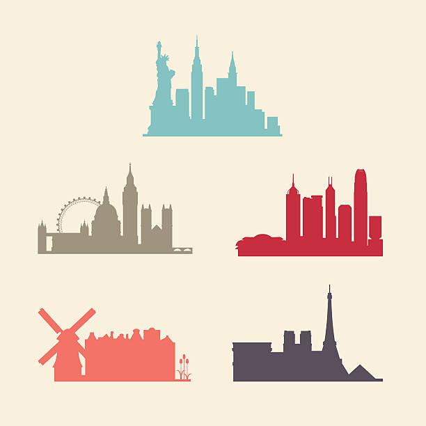 bildbanksillustrationer, clip art samt tecknat material och ikoner med international city skylines - illustrationer med hongkong
