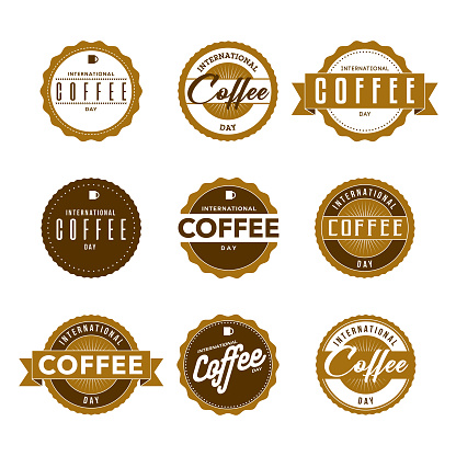 International Coffee Day Labels Icon Set