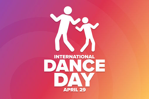 International Dance Day. April 29. Holiday concept. Template for background, banner, card, poster with text inscription. Vector EPS10 illustration.