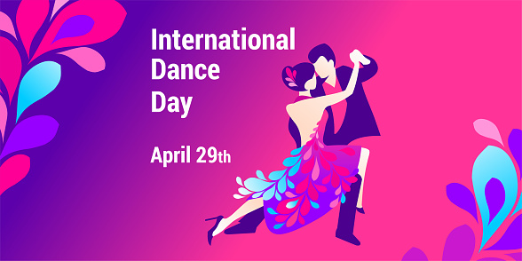 International dance day. Vector banner, poster, flyer, greeting card for social media with the text International dance day April 29 th. An illustration of a beautiful dancing couple.