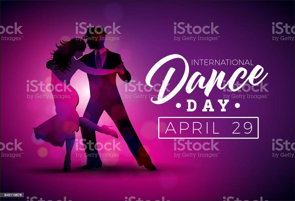 International Dance Day Vektorillustration Mit Tangotanzpaar Auf ...