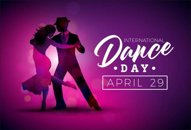 international dance day vektor-illustration mit tango-tanzpaar auf lila hintergrund. design-vorlage für banner, flyer, einladung, broschüre, poster oder grußkarte. - ballsäle stock-grafiken, -clipart, -cartoons und -symbole