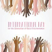 International Day for the Elimination of Racial Discrimination. 21 March. Many people human hands raising upward on white background, Equality concept campaign conceptual idea Vector poster.