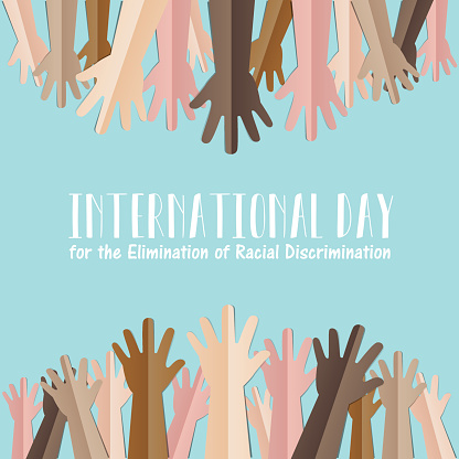 International Day for the Elimination of Racial Discrimination. 21 March. Many people human hands raising upward on green background, Equality concept campaign conceptual idea Vector poster.