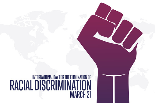 International Day for the Elimination of Racial Discrimination. March 21. Holiday concept. Template for background, banner, card, poster with text inscription. Vector EPS10 illustration.
