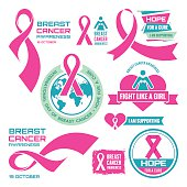 International Day of Breast Cancer - creative badges.