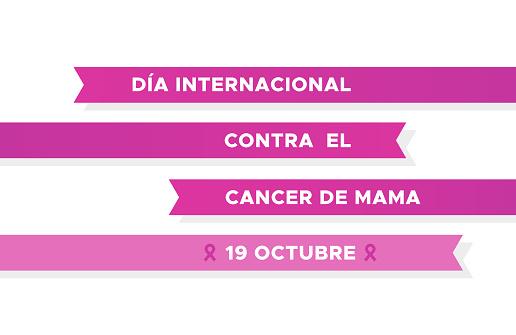 International Day of Breast Cancer in Spanish. Dia internacional contra el cancer de mama. Pink ribbons. Vector illustration, flat design