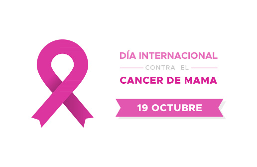 International Day of Breast Cancer in Spanish. Dia internacional contra el cancer de mama. Vector illustration, flat design